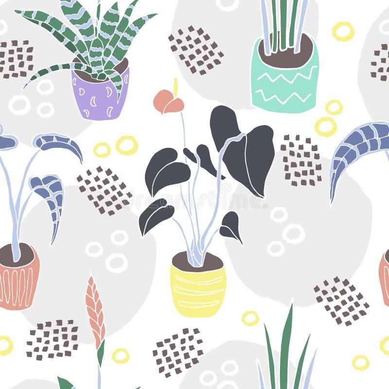 Płascy kolorów houseplants w garnkach rysowali wzór ilustracji