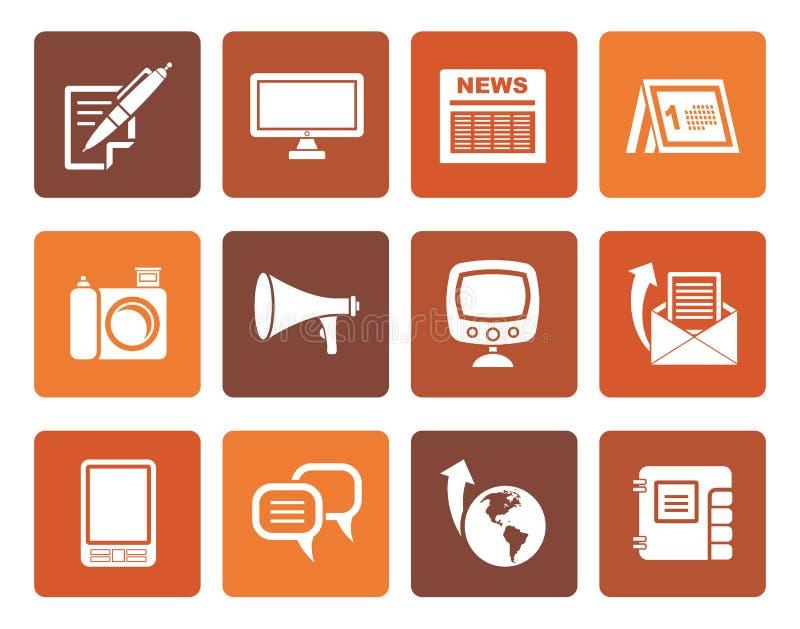 Płascy Komunikacyjni kanały i Ogólnospołeczne Medialne ikony royalty ilustracja