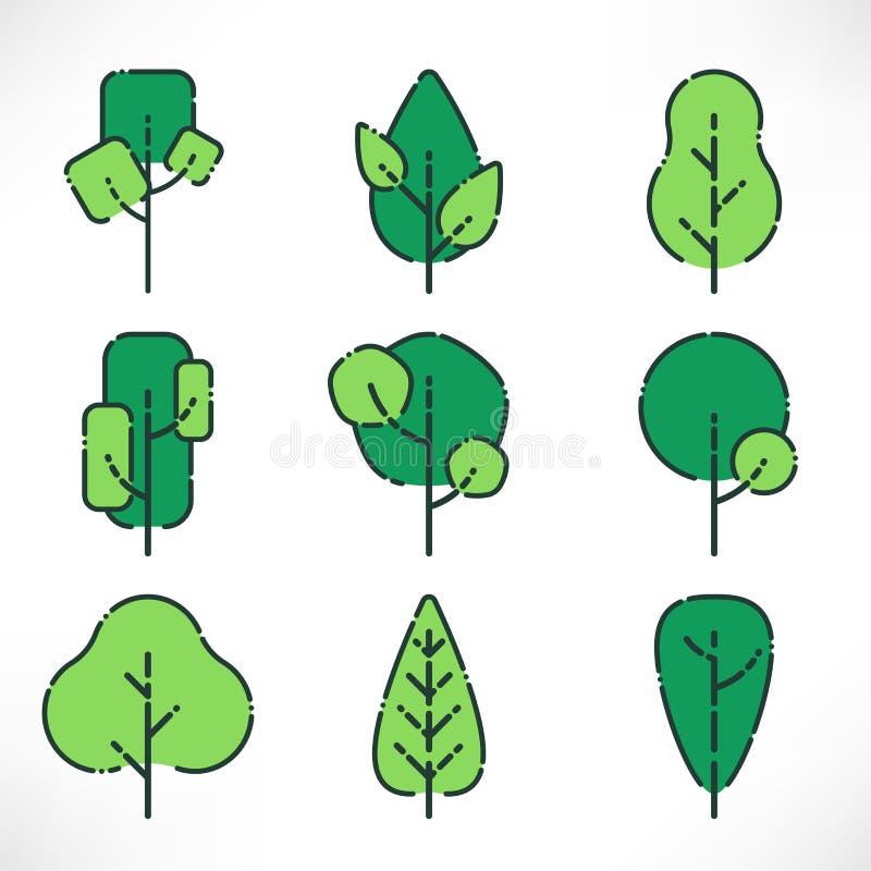 Płascy konturów drzewa ustawiający ilustracji