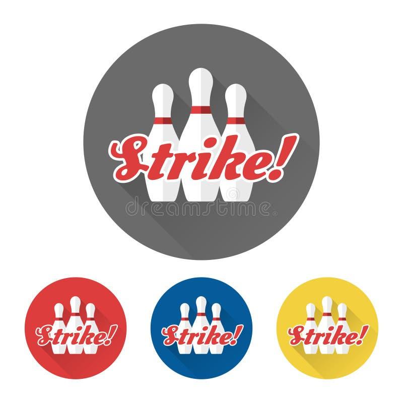 Płascy kręgle ustawiają i strajka znak ilustracja wektor