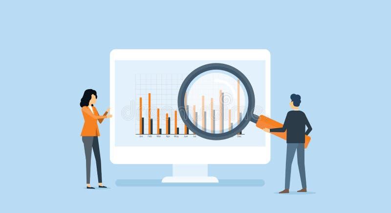 Płascy ludzie biznesu analityka i monitorowanie inwestorskie i finansowe royalty ilustracja