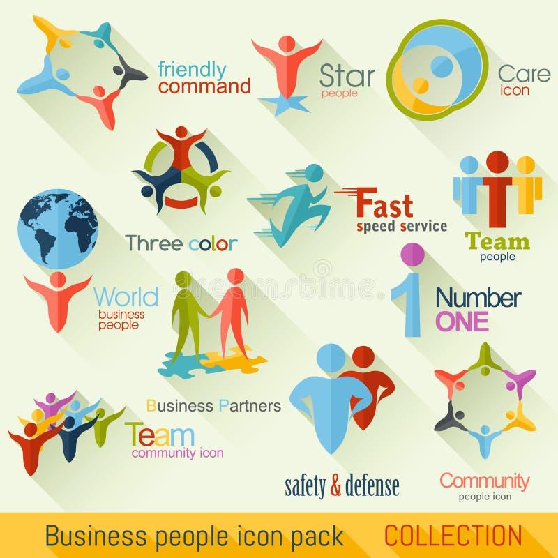 Płascy ludzie biznesu logo kolekci grafika biznesowy korporacyjnej tożsamości szablonu wektor royalty ilustracja