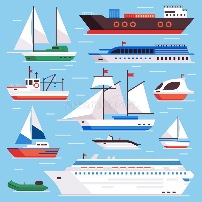 Płascy morze statki Morska wysyłki żeglowania łódź, oceanu rejsu liniowiec i icebreaker, wysyłamy wektoru set ilustracji