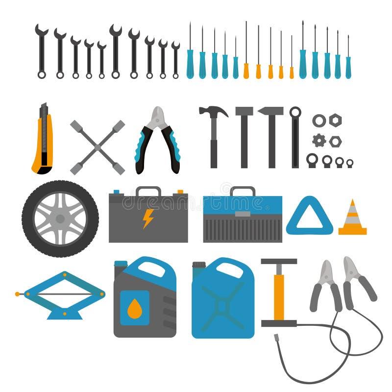 Płascy projektów elementy samochodu diagnostyk i usługa Auto mechanika naprawa maszyny Mechaników narzędzia i wyposażenie set royalty ilustracja