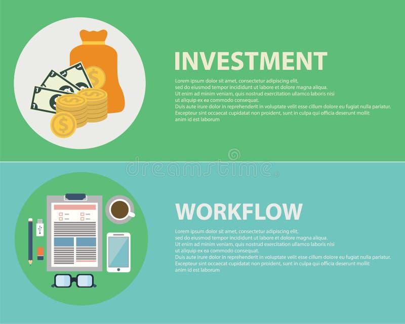 Płascy projektów pojęcia dla biznesu, finanse, strategiczny zarządzanie, inwestycja, obieg, konsultuje, praca zespołowa, doskonał ilustracja wektor