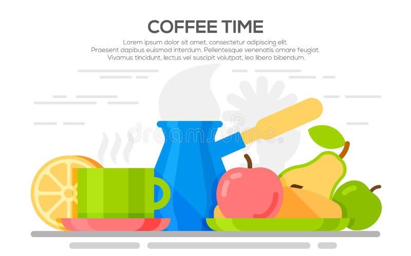 Płascy projektów pojęcia dla kawowego czasu royalty ilustracja