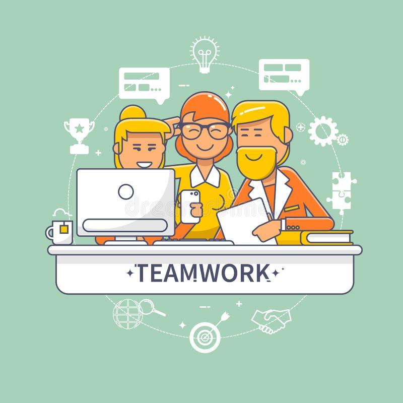 Płascy projekta korporacyjnego biznesu drużyny ludzie stoi i siedzi za biurkiem Biznesowy pracy zespołowej spotkanie i brainstorm royalty ilustracja