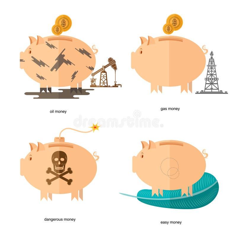 Płascy projekta prosiątka banka ikon pojęcia finanse i biznes na bielu, olejów konta, benzynowy pieniądze, łatwy pieniądze, niebe royalty ilustracja