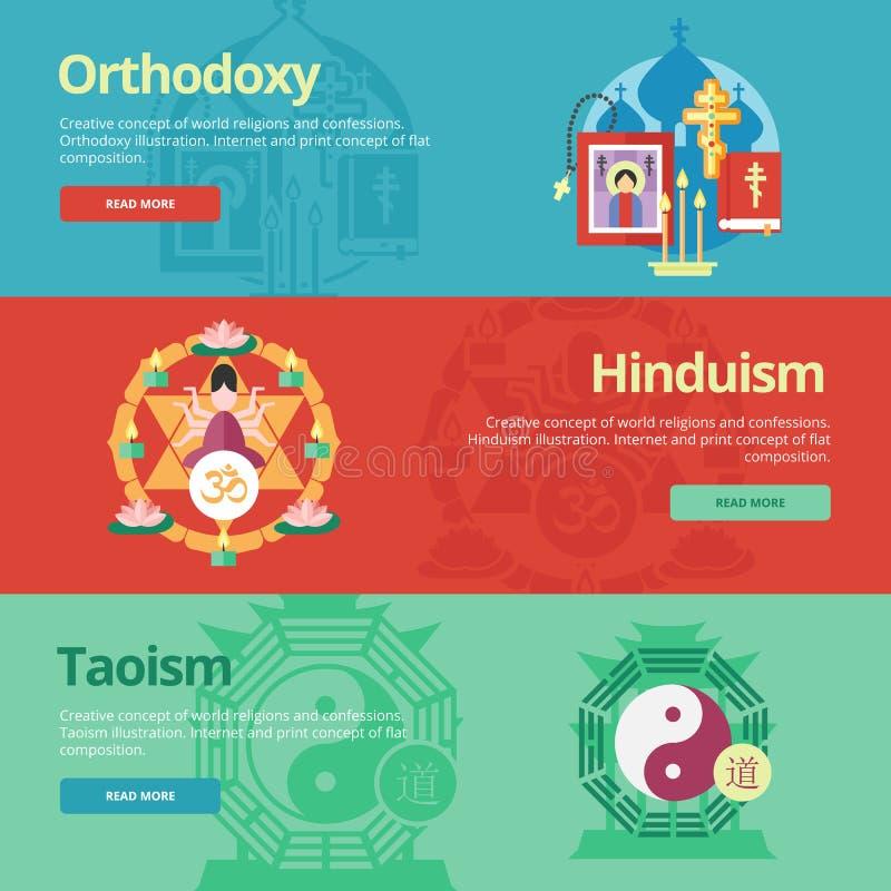 Płascy projekta sztandaru pojęcia dla ortodoksi, hinduism, taoism ilustracji