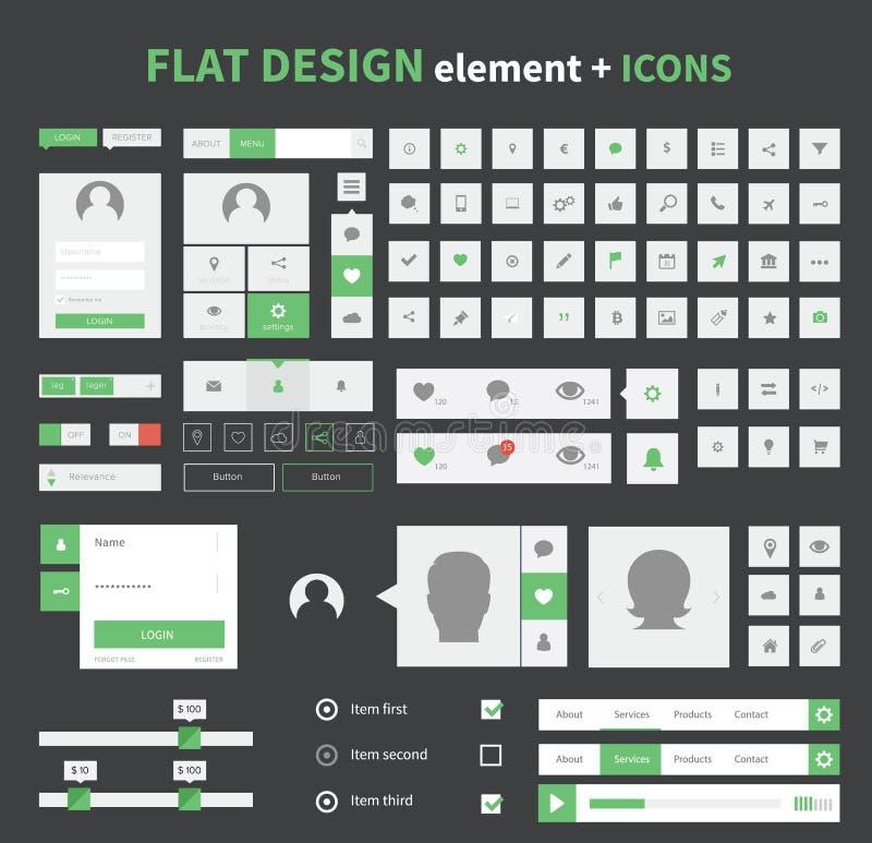 Płascy projekta ui zestawu elementy ustawiający z płaskimi ikonami ilustracja wektor