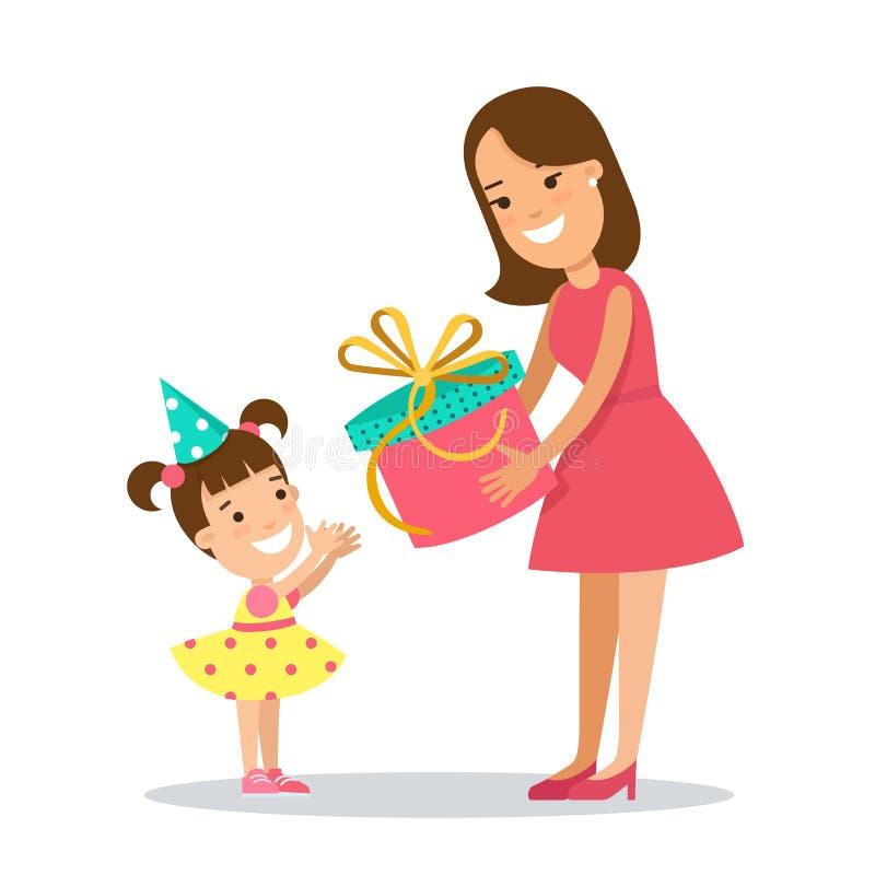 Płascy Rodzinni dzieci wakacyjni Matka presen royalty ilustracja