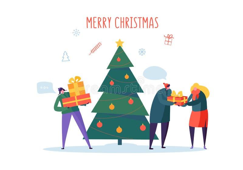 Płascy Szczęśliwi ludzie z prezentami i choinką Wesoło Xmas Wakacyjny przyjęcie Charaktery Świętuje nowy rok wigilię ilustracji