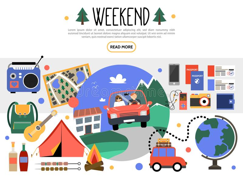 Płascy Weekendowi elementy Ustawiający ilustracja wektor