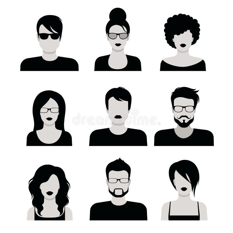 Płascy wektorowi czarny i biały ludzie ostrzyżenia avatar wektorowej ikony ilustracji