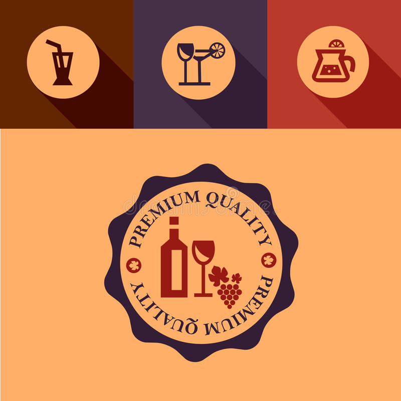 Płascy wino projekta elementy ilustracja wektor