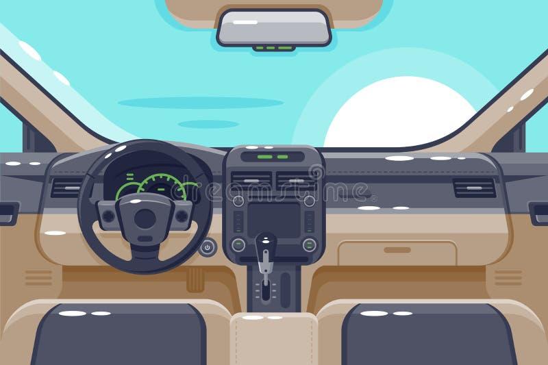 Płascy wnętrza samochodowy wnętrze z przekazem, kierownicą, rękawiczkowym pudełkiem, elektroniką i deską rozdzielczą, ilustracja wektor