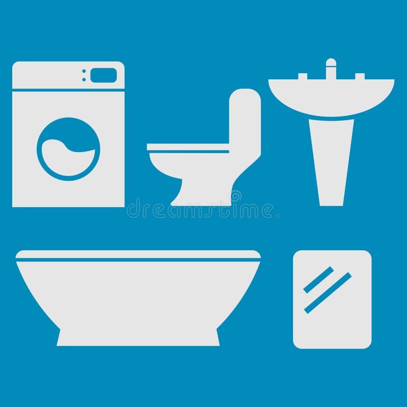 Download Płaska łazienka ilustracja wektor. Ilustracja złożonej z płuczka - 53783443