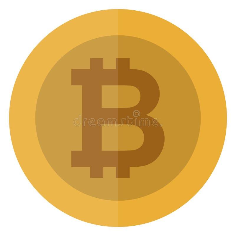 Płaska bitcoin waluta Cryptocurrency round moneta elektroniczny pieniądze Kasynowa waluta Uprawiający hazard menniczą, wektorową  ilustracji