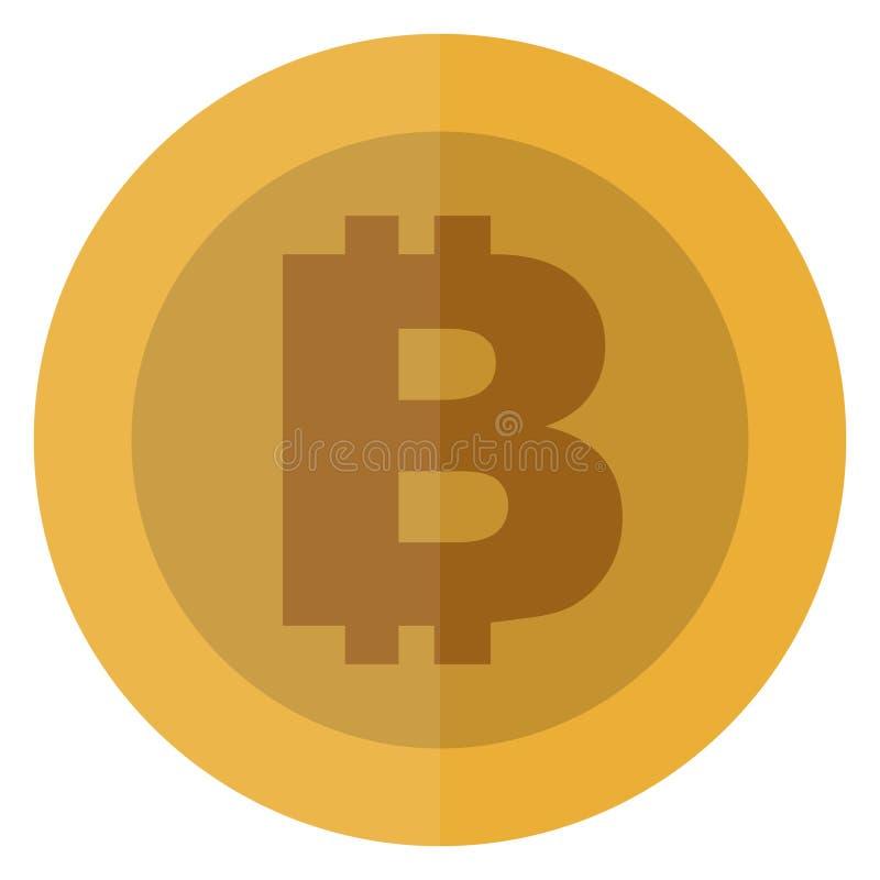 Płaska bitcoin waluta gęsty Cryptocurrency round moneta elektroniczny Kasynowa waluta Uprawiający hazard menniczą, wektorową ilus royalty ilustracja