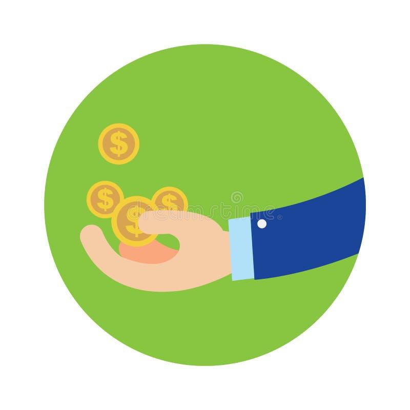 Płaska biznesowa ręka dostaje monety w zielonej okręgu wektoru ilustraci ilustracji