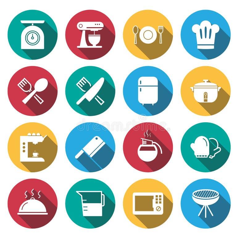 Płaska cień kuchnia wytłacza wzory ikona set ilustracja wektor