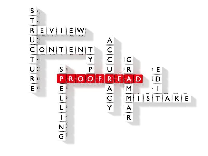 Płaska crossword łamigłówka pokazuje proofreading słowo kluczowe jako kostka do gry ilustracji