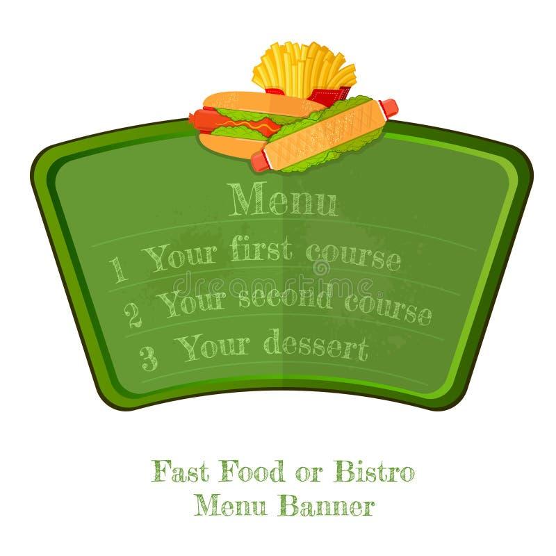 Płaska fast food zieleni menu deska lub sztandar z hot dog i francuzem smażymy odgórny odosobnionego royalty ilustracja