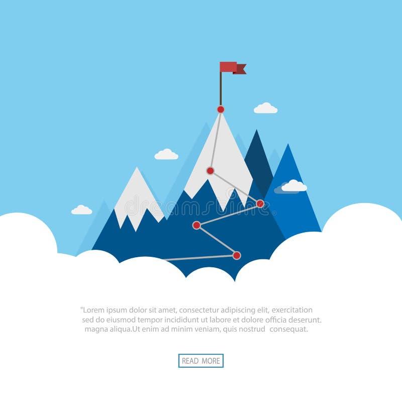 Płaska flaga wektora poziomego na niebieskich górach Zwycięstwo sukcesu royalty ilustracja