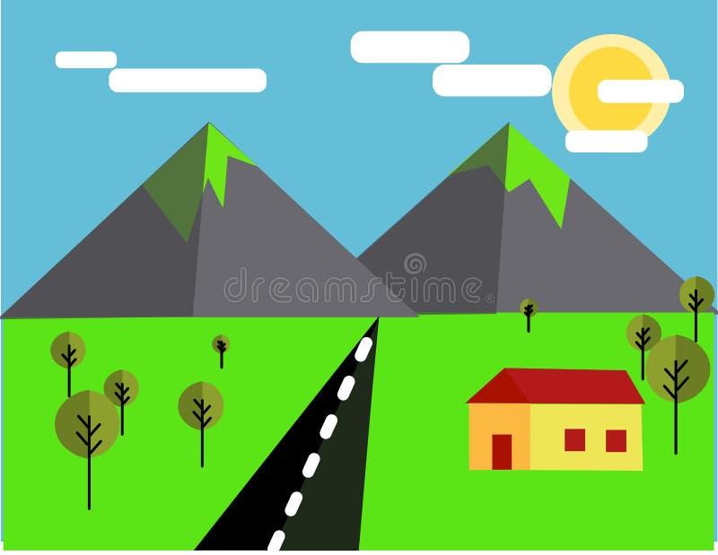 Płaska góra krajobrazu ilustracja ilustracja wektor