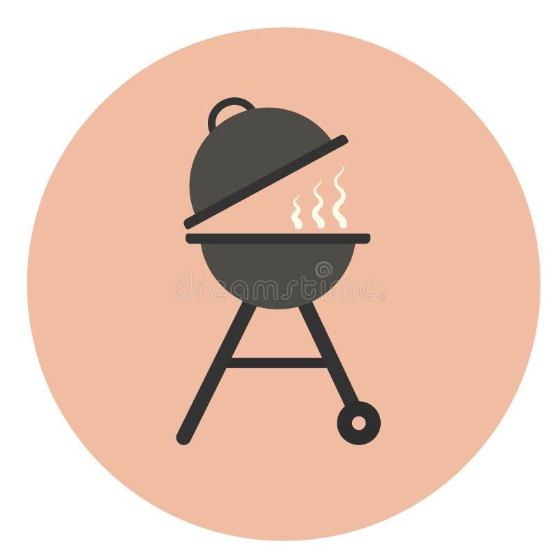 Płaska grill ikona, plenerowy węgla drzewnego grill royalty ilustracja