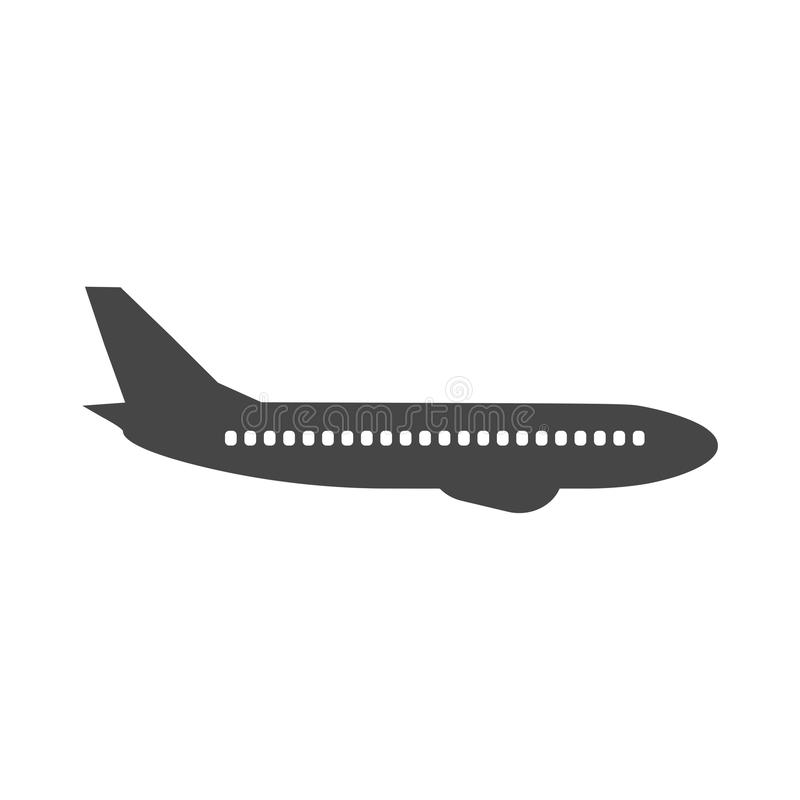 Płaska i samolotowa ikona royalty ilustracja