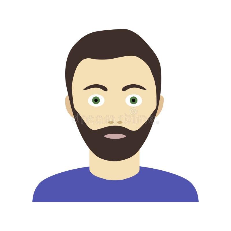 Płaska ikona brodaty mężczyzna w pulowerze royalty ilustracja