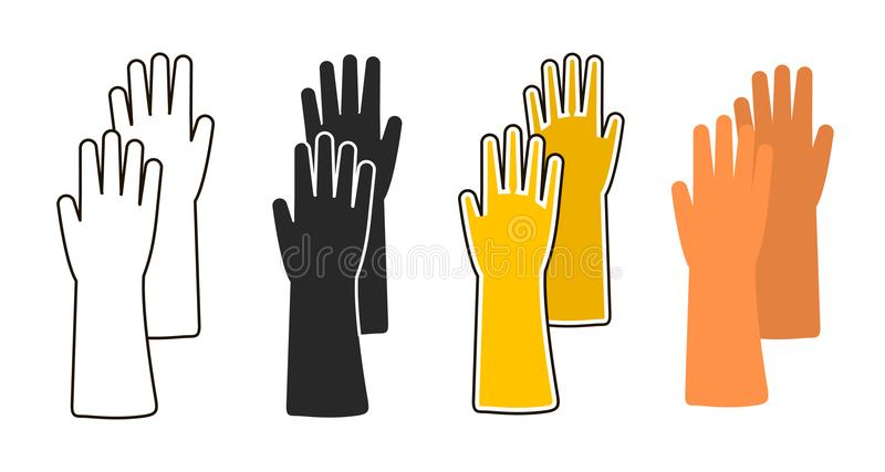 Płaska ikona gumowa rękawiczka ilustracja wektor