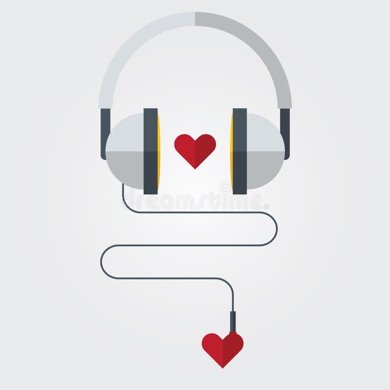 Płaska ikona hełmofon z czerwonym sercem na miłość Muzycznym temacie, wektor royalty ilustracja