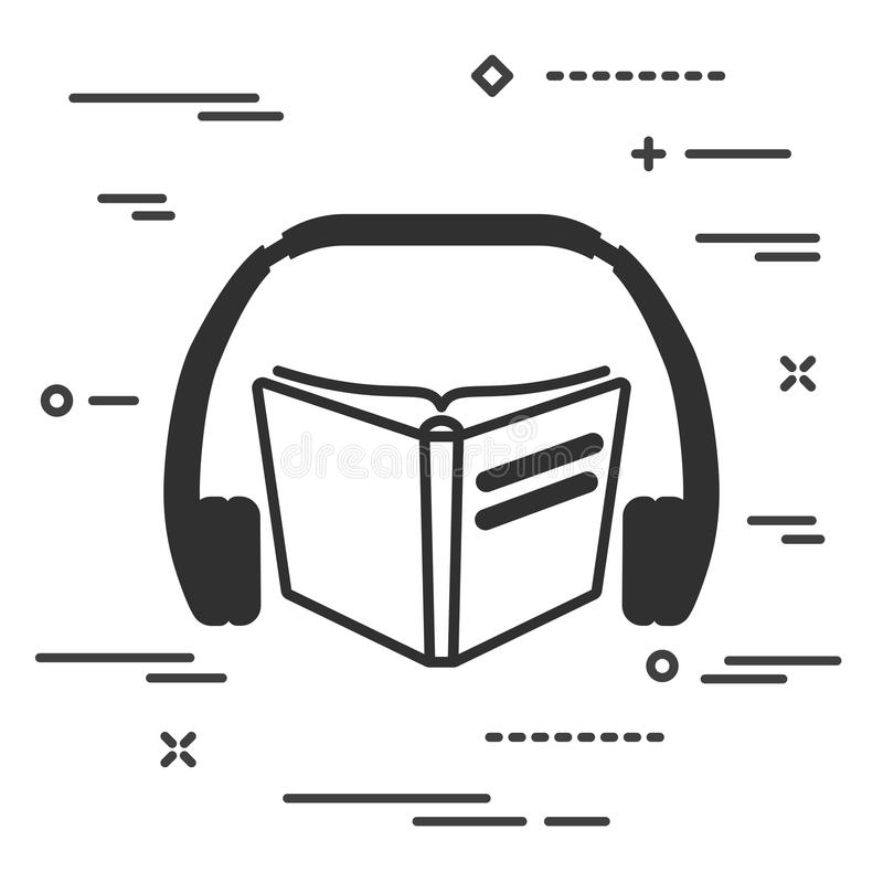 płaska ikona książka i hełmofony na białym tle Audio książka ilustracji