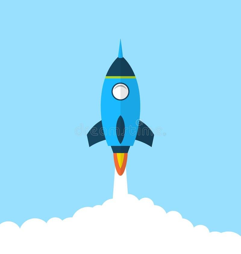 Płaska ikona rakieta z długim cienia stylem, początkowy pojęcie royalty ilustracja