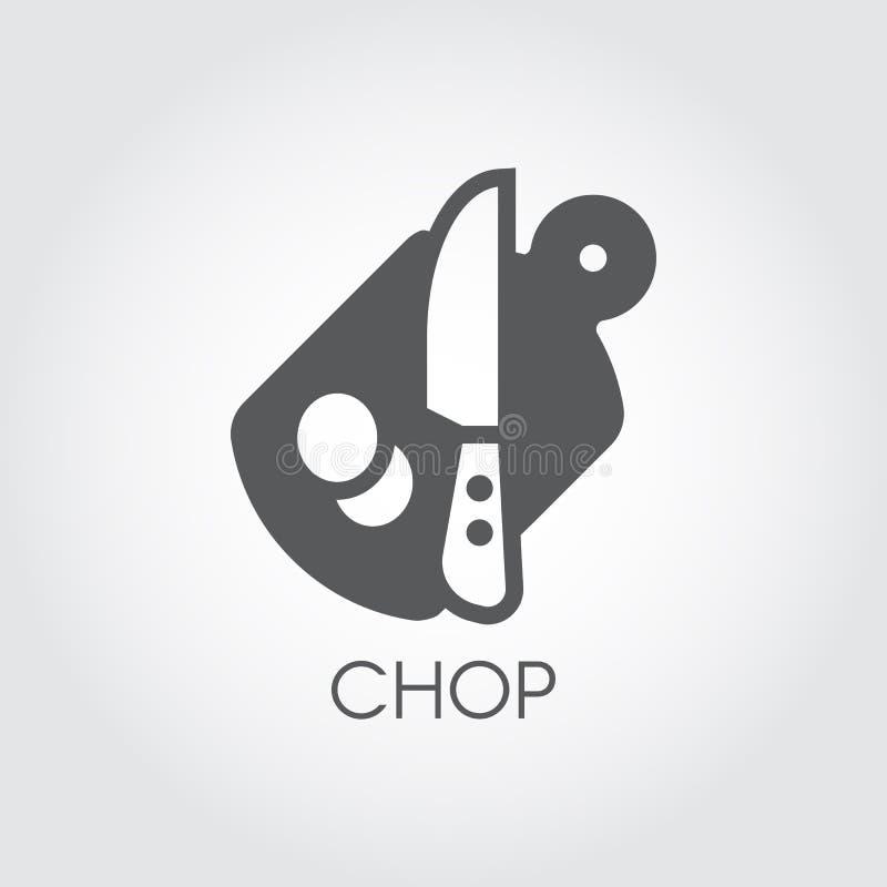 Płaska ikona tnąca deska, nóż i kawałki abstrakcjonistyczny produkt, Ciapania biurko - kuchenny naczynie temat kuli ziemskiej log ilustracja wektor