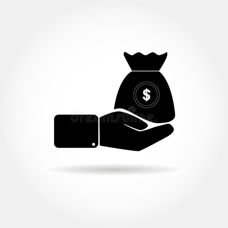 Płaska ikona z ręką trzyma torbę pieniądze z dolarowym symbo ilustracja wektor