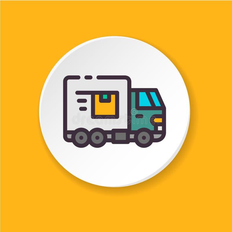 Płaska ikony ciężarówka Pojęcie wysyłka, eksport, import ilustracja wektor