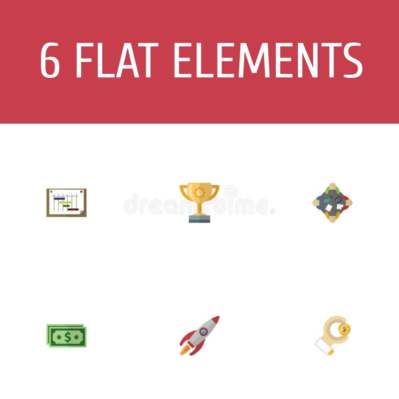Płaska ikony dyskusja, mistrzostwo, rakieta I Inni Wektorowi elementy, Set projekt ikon Płascy symbole Także Zawiera ilustracji