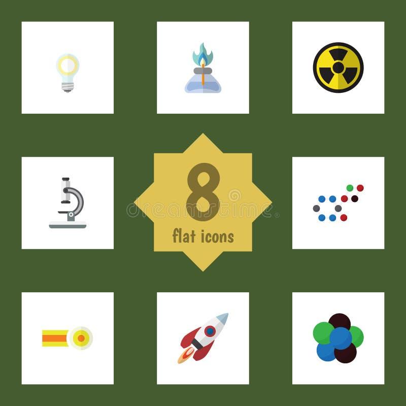 Płaska ikony nauka Ustawiająca irradiacja, substancja chemiczna, Lightbulb I Inni Wektorowi przedmioty, Także Zawiera molekułę, g ilustracja wektor