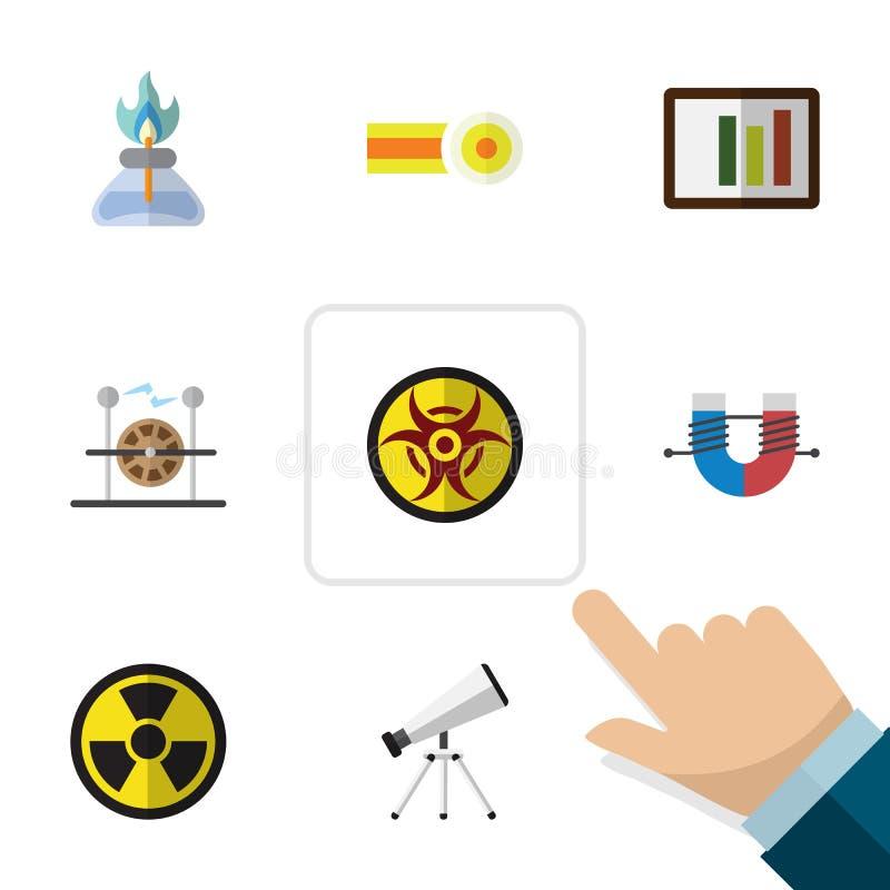 Płaska ikony nauka Ustawiająca płomień, irradiacja, zakres I Inni Wektorowi przedmioty, Także Zawiera ryzyko, molekuła, palnik ilustracja wektor