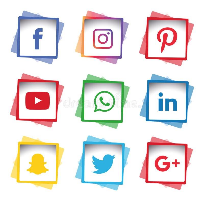 Płaska ikony technologia, ogólnospołeczni środki, sieć, komputerowy pojęcie Abstrakcjonistyczny tło z przedmiot grupą elementy gw ilustracja wektor