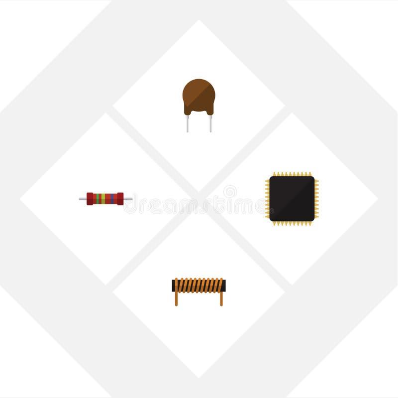 Płaska ikony technologia Ustawiająca jednostka centralna, opór, bobina I Inni Wektorowi przedmioty, Także Zawiera Fiildistor, pły royalty ilustracja