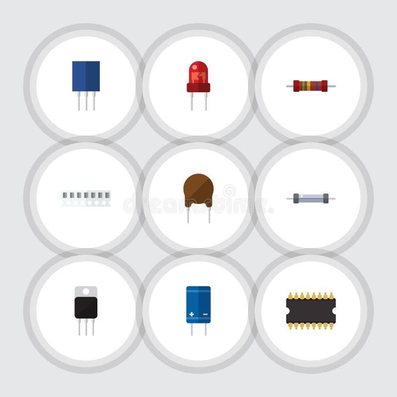 Płaska ikony technologia Ustawiająca mikroprocesor, tranzystor, opór I Inni Wektorowi przedmioty, Także Zawiera opornika ilustracji