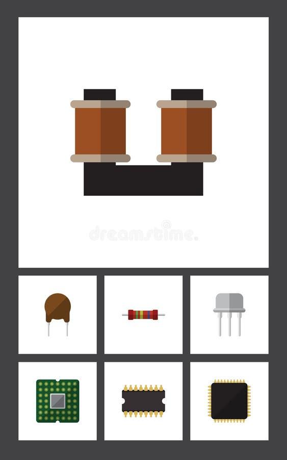 Płaska ikony technologia Ustawiająca zwitka groszak, opór, jednostka I Inni Wektorowi przedmioty, Także Zawiera groszaka, trioda ilustracji