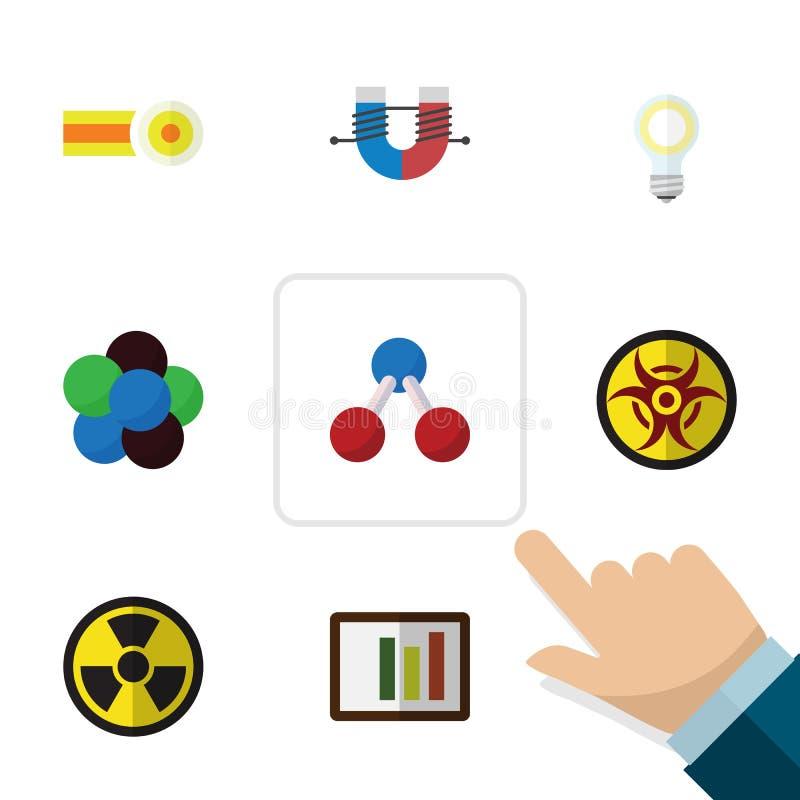 Płaska ikony wiedza Ustawiająca irradiacja, niebezpieczeństwo, Lightbulb I Inni Wektorowi przedmioty, Także Zawiera żarówkę, Prot royalty ilustracja