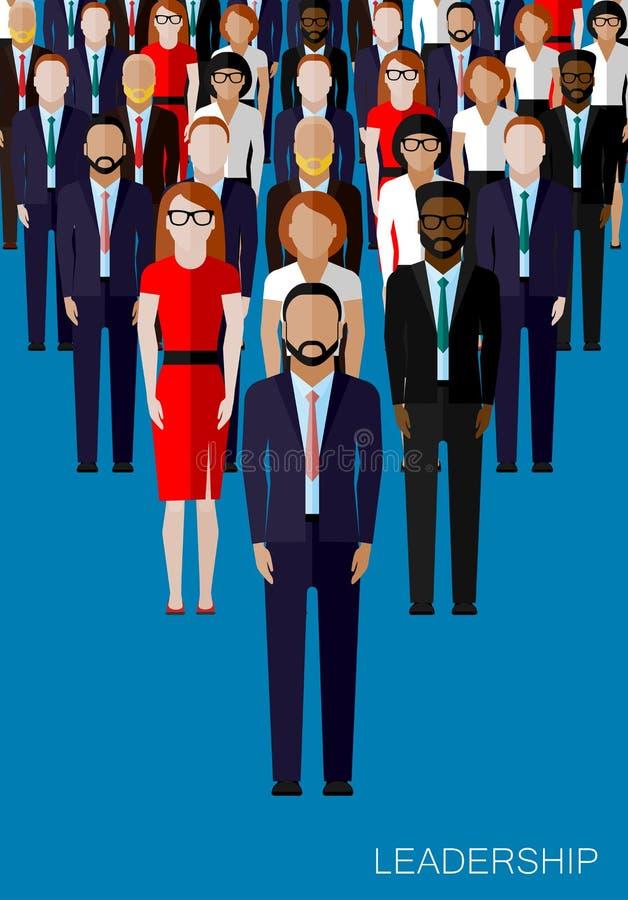 Płaska ilustracja lider i drużyna Tłum mężczyzna ilustracji
