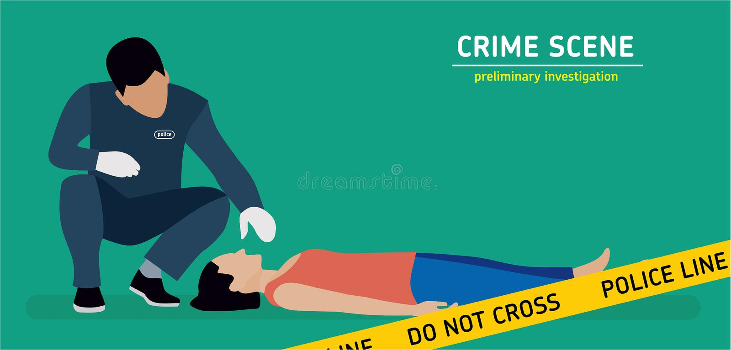 Płaska ilustracja Morderstwa dochodzenie ilustracja wektor