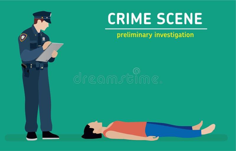 Płaska ilustracja Morderstwa dochodzenie ilustracji